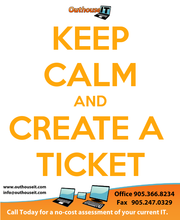 keep calm and create a ticket outhouse it